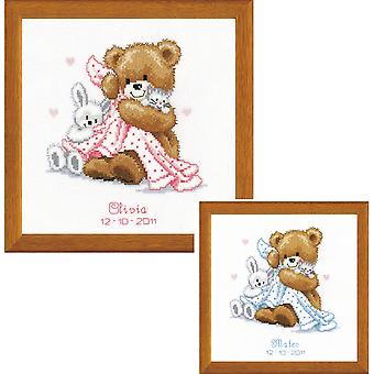 Bear With Blanket On Aida Counted Cross Stitch Kit-6.75