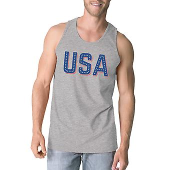 USA With Stars Mens Sleeveless Top Funny Independence Day Tanks