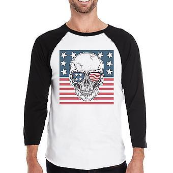 Schedel Amerikaanse vlag Mens Black Raglan Shirt 3/4 mouw Crewneck