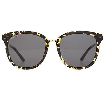Gucci Metal Bridge Peaked Square Sunglasses In Havana Gold