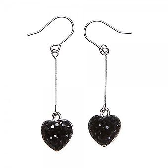 Camille Womens Ladies Black Diamante Heart Drop Silver Plated Earrings