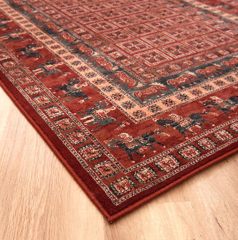 Kashqai 4301-300 Russet and green with horses going around the border Rectangle Rugs Traditional Rugs