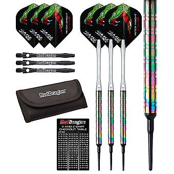 Red Dragon Peter Wright Snakebite 1: 18g - 85% Tungsten Steel Soft Tip Darts with Flights, Shafts, Wallet & Red Dragon Checkout Card