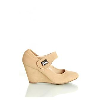 The Fashion Bible Kylie Wedge Shoes In Beige