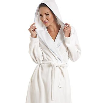 Camille White Fleece And Blue Polka Dot Shawl Collar Bathrobe
