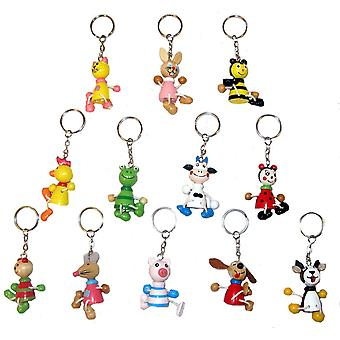 60 Assorted Wooden Animal Keychains 5cm