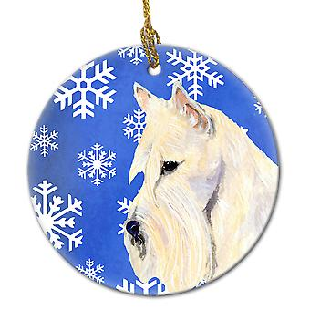 Scottish Terrier Winter Snowflakes Holiday Christmas Ceramic Ornament SS4668
