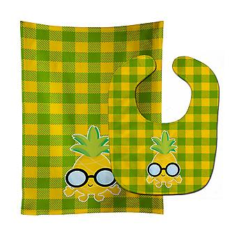 Pineapple Face with Glasses Baby Bib & Burp Cloth