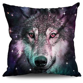 Wolf Space Cosmos Animal Linen Cushion Wolf Space Cosmos Animal | Wellcoda