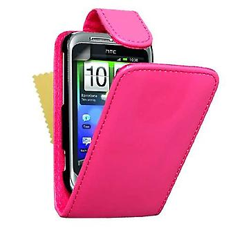 Yousave Accessories HTC Wildfire S Leather-Effect Flip Case - Hot Pink