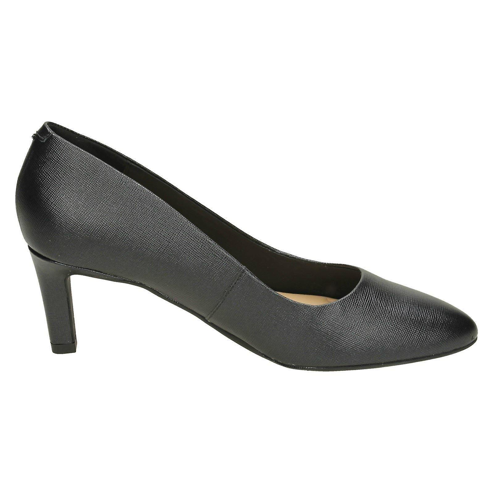 Mesdames Clarks texturé Cour chaussures Calla Rose - - - Noir texturé cuir - UK taille 7,5 J - UE taille 41,5 - taille US 10M   Coût Modéré    Digne  d8bbeb