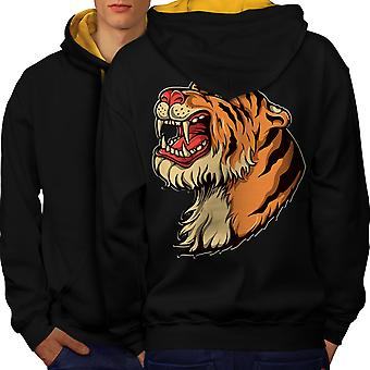 Черный тигр головы мужчин (Золотой колпак) контраст Hoodie обратно   Wellcoda
