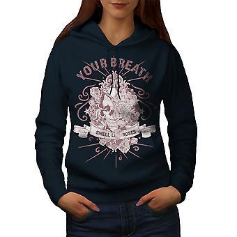 Skull Breath Women NavyHoodie   Wellcoda