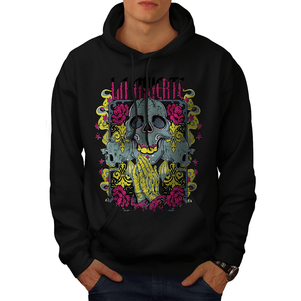 Muerte Rose Cool Skull Men Black Hoodie | Wellcoda