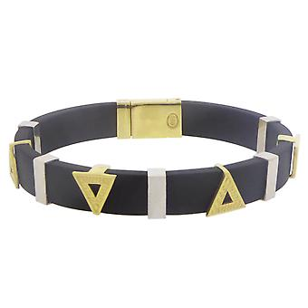 Rubber and bicolor Gold Bracelet