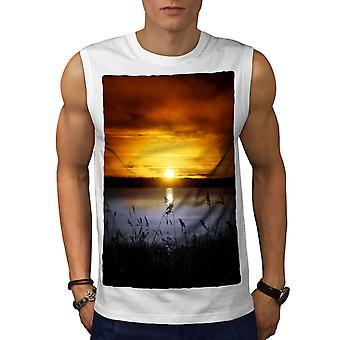 Landscape Lake Sun Men WhiteSleeveless T-shirt   Wellcoda