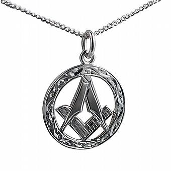 Silver 21mm hand engraved Masonic emblem in a circle Pendant with a curb Chain 18 inches