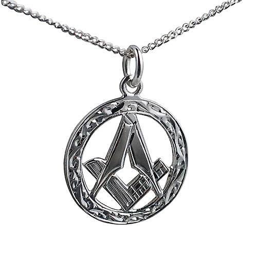 Silver 21mm hand engraved Masonic emblem in a circle Pendant with a curb Chain 24 inches