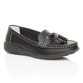 Ajvani womens nautical flat slip on low heel wedge full leather moccasin tassel loafers comfort boat shoes