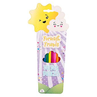 Forecast Friends Pack of 8 Velvet Colouring Pencils Childrens Stationery