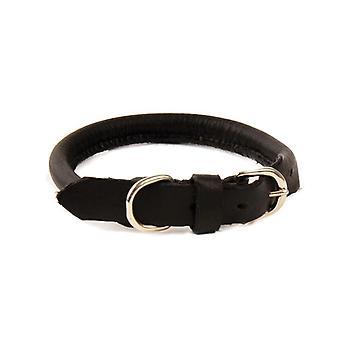 Runde Leder Halsband schwarz