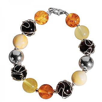 Shipton and Co Ladies Shipton And Co Exclusive Silver And Amber Beads Bracelet TBR003AB