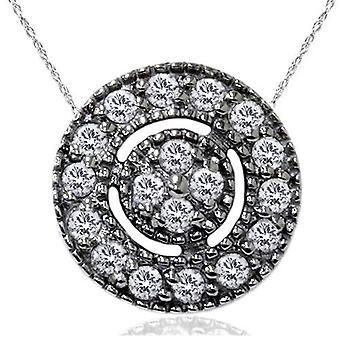1 / 4ct бриллиант проложить Halo 14K золото черный Женские ожерелье & 18