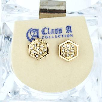 Iced out bling earrings box – HEXAGON 8 mm gold