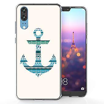 Huawei P20 Azteekse blauwe anker TPU Gel geval