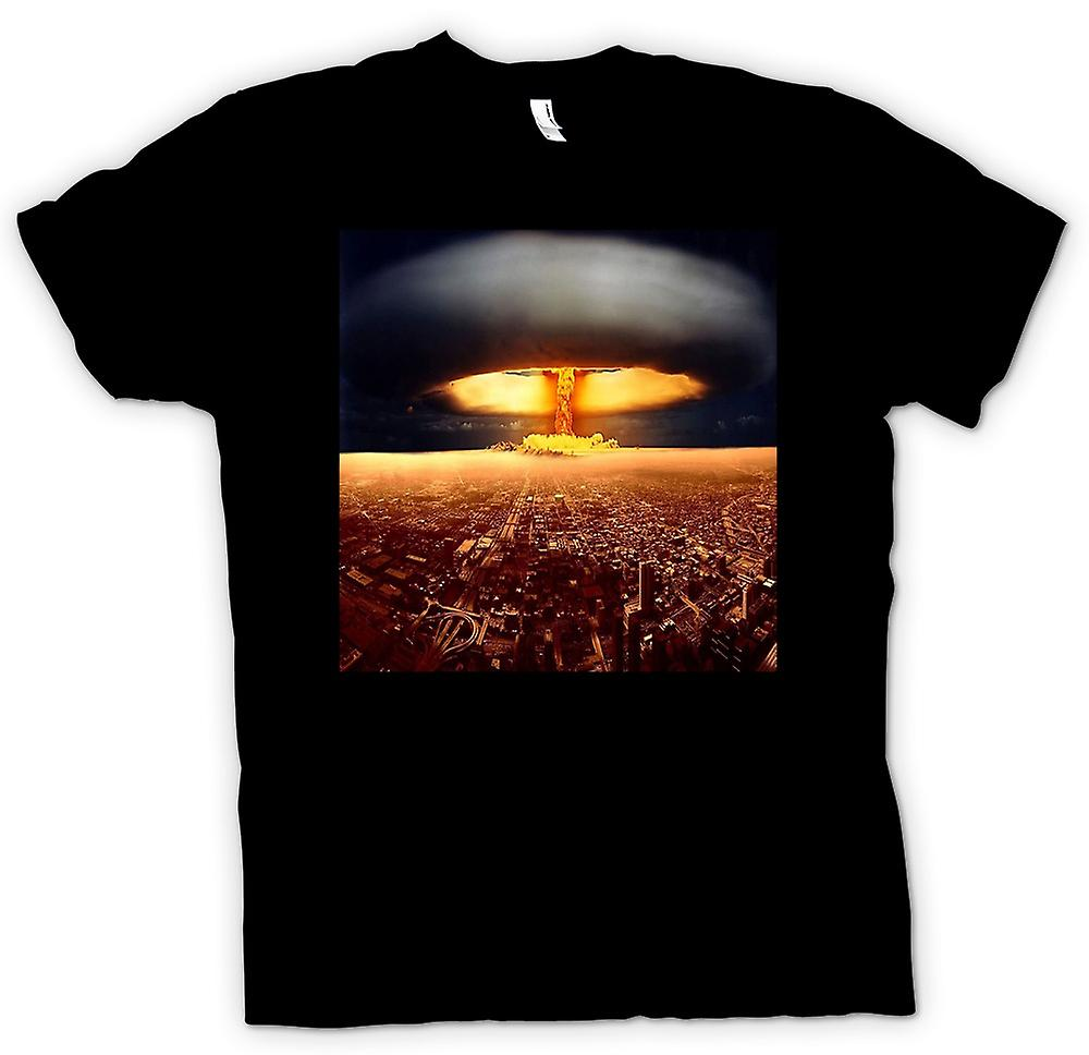 Kids T-shirt - Nuclear Mushroom Cloud On City - Cool