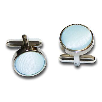 Baby Blue Plain Satin Cufflinks
