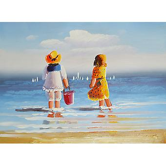 Children on the beach, oil painting on canvas, 30 x 40 cm