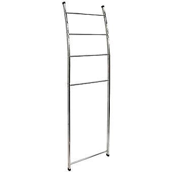 Ladder - Metal Wall Mounted Leaning 4 Rung Towel Rail - Chrome