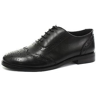 Cipriata Violetta Black Womens Leather Brogue Oxford Shoes