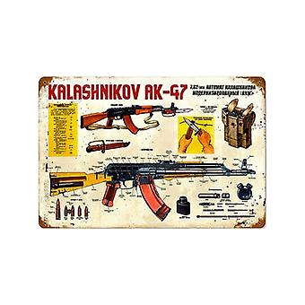 Kalashnikov Ak-47 Rusted Metal Sign 460Mm X 300Mm