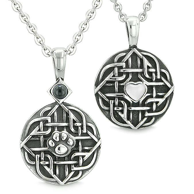 Amulets Couples Best Friends Celtic Shield Wolf Paw Heart blanc Cats Eye Simulated Onyx Necklaces