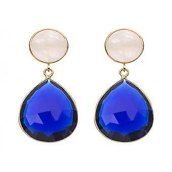 Gemshine - damer - örhängen - 925 silver pläterad - Månsten - kvarts - vit - blå - 4 cm