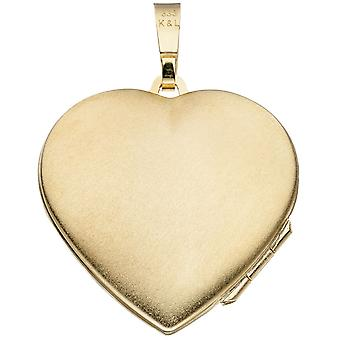 Locket heart frosted 333 gold yellow gold to open 2 photos