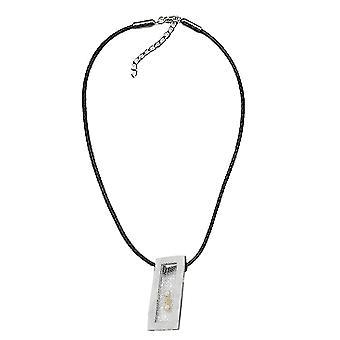 Kjede kjede av firkantet metall anheng med 3 perler svarte ledningen 45 cm