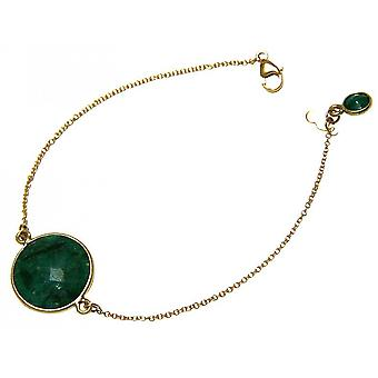 Bracelet gold plated bracelet - bracelets - faceted emerald - green - - 19 cm