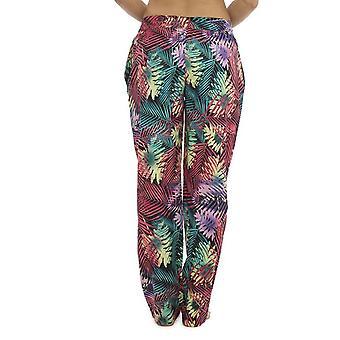 Peso ligero para mujeres verano Tropical de impresión pantalón fondos salón usar pantalones