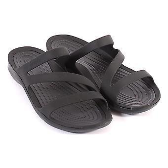 Crocs Women's Swiftwater Croslite Slip On Sandal Black / Black