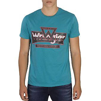 Wrangler Mens Crew Neck Short Sleeve Cotton Casual Wrangler T-Shirt Tee Top-Blue