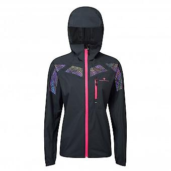 Infinity Nightfall Womens Running Jacket With Hi Vis Graphics Black/Azalea Reflect