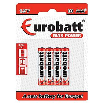 Eurobatt Max Power 1 .5V R03 AAA piles (lot de 4)