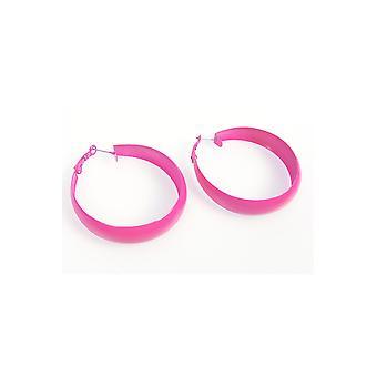 Juwelen en kronen Disco oorbellen helder roze