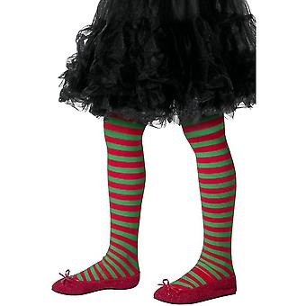 タイツ ストライプ タイツ チャイルズ赤・緑、子供の年齢 8-12