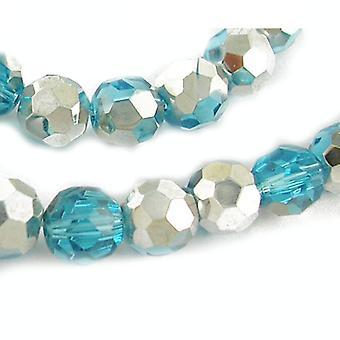 Strand 50 + Błękitny Srebrny czeski kryształ szkło 6mm szlifowane koraliki okrągłe HA20795