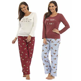 2 Pack Ladies Foxbury Robin Xmas Print Winter Long Pyjamas Sleepwear