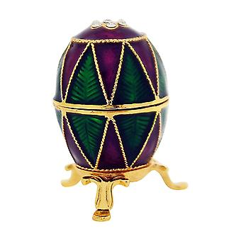 TOC Purple & Green Faberge-Style Egg Trinket Jewellery Box